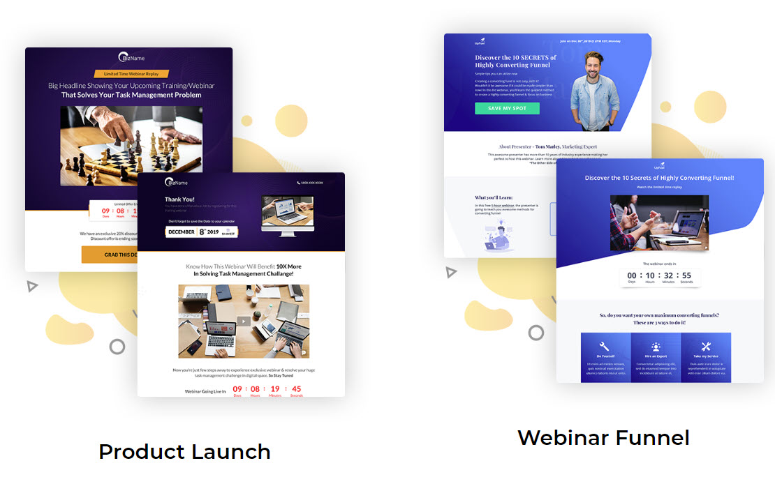maxfunnels 2.0 review - webinar and launch templates